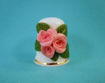 HAND SCULPTED Polymer Clay ROSES on Bone China Porcelain Thimble