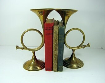 Vintage BRASS French HORN BOOKENDS Set/2 Tarnished Patina Decorative Shelf Decor Paperweight