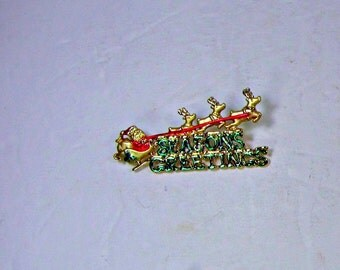 Vintage SANTAS SLEIGH BROOCH Christmas Seasons Greetings Gold Holiday Pin Jewelry Gift