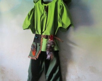 Child's Peter Pan, Neverland, Robin Hood, Forest Elf Costume: Tunic With Hood, Pants, Pouch/Belt - All Cotton - Size 3 to 8, Ready To Ship