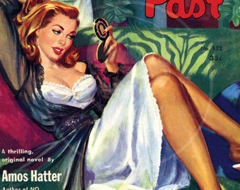 Lady with a Past - 10x14 Giclée Canvas Print of Vintage Pulp Paperback