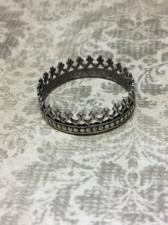 Antiqued Sterling Silver Crown Ring, Christian Jewelry, Faith Jewelry, Witness Jewelry, Women's Jewelry, Artisan Jewelry, Metalsmith