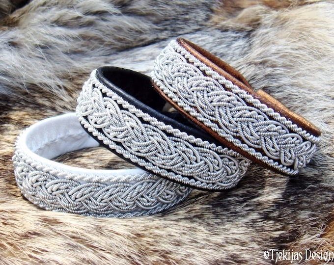 Nordic GRANI Handmade Leather Cuff Bracelet for Guys and Girls | Lapland Pewter Black Reindeer Sami Bracelet | Scandinavian Folklore Jewelry