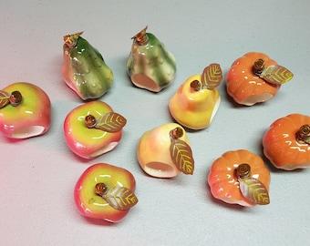 Ceramic Napkin Rings: Apple, Pear,   Pumpkin