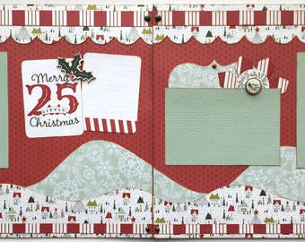 Merry Little Christmas Premade 2 Page 12x12 Scrapbook Layout