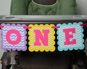 One Highchair Banner, ONE Highchair Banner, Age Banner, 1st Birthday, Hot Pink Theme, 1st Year Party, Aqua blue, Yellow, Purple and Hot Pink