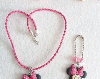 Minnie Mouse Necklace and Zipper Pull Set