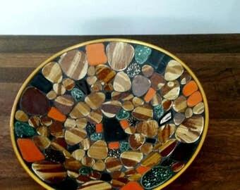 Mid-century Modern Gold Mosaic Tile Bowl.