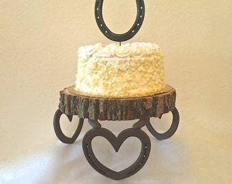 Wedding cake stand AND matching horseshoe topper, strong multi-tier cake stand, western equestrian decor IN STOCK