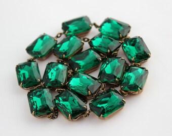 Emerald necklace, Emerald octagon necklace, green necklace, Emerald green necklace, matching set, emerald wedding, Prom grad bridesmaid E02