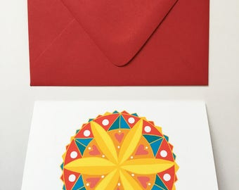 Rosette Hex Sign- Blank Greeting Card