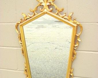 """Hollywood Regency Gold Wall Mirror Ornate Geometric Frame - Big 35"""" x 20"""" - Acanthus Leaf & Fleur de Lis - Filigree Scroll Work - Retro"""