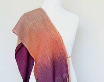 Luxury gift for her, woven scarf, pashmina scarf in fuchsia, orange and beige, gift for her, long scarf with fringe