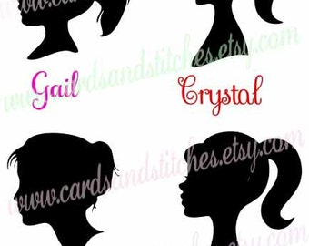 Girl Silhouettes SVG - Girl Portraits SVG - Digital Cutting File - Graphic Design - Cricut Cut - Instant Download - Svg, Dxf, Jpg, Eps, Png