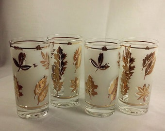Vintage Libbey Golden Foliage Drinking Glasses, 1960's Classic