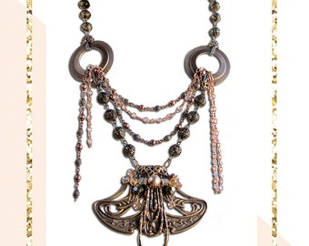 Victorian Statement Necklace Steampunk Necklace Art Deco Jewelry GIfts For Her