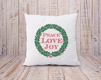 Peace love joy pillow cover-Christmas pillow cover-christmas cushion cover-winter pillow-holoiday pillow-home decor-by NATURA PICTA-NPCP018