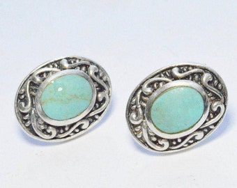 SALE Vintage Sterling Silver Turquoise Southwestern Style Signed Pierced Post Oval Earrings