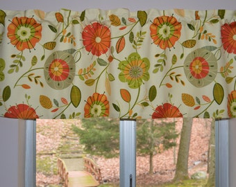 Retro Kitchen Valance . Modern . Mid-century  Design .  Atomic Inspired Floral  Valance .  Handmade by Pretty Little Valances