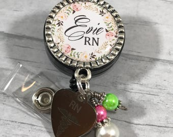 RN ID Badge Reel. Nurse Id Badge. Personalized Id Badge Reel. X-Ray Tech. LpN. Mail Carrier Gift. ID Lanyard. Hospital Staff Gift. Floral