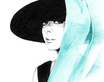 Audrey Hepburn in Big Hat - Breakfast at Tiffany's - Pencil and pen drawing