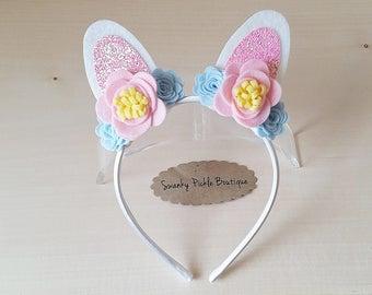 Bunny Ears Headband,Glitter Bunny Ears,Easter Headband or Hair Bow,Dress Up,Toddler Girls Headband,Photo Prop