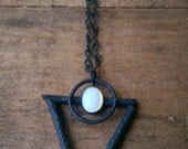 RESERVED - Gunmetal Patina Copper, Willow & Pearl Alchemy Necklace