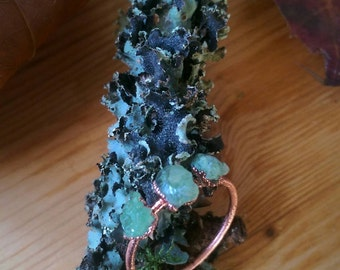 Natural Green Garnet and Raw Copper Ring