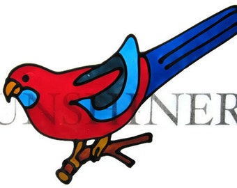 crimson rosella lorikeet parrot bird Suncatcher window sticker/decal stained glass style Sunshiner