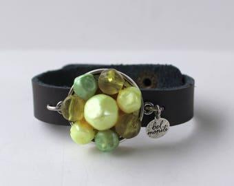 Green Bracelet, Pantone Greenery, Snap Bracelet, Leather Cuff, Cuff Bracelet, Vintage Bracelet, Recycled Bracelet, Upcycled, Spring Bracelet