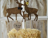 Deer hunting themed baby shower wedding cake topper gender reveal the hunt is over sign wood deer silhouettes bride groom fawn family rack