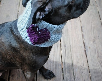Crochet Dog Cowl Grey with Plum Heart Made to Order
