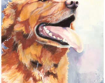 "8x10"" Golden Retriever Watercolor Giclee Fine Art Print [Watercolor Dog Portrait Print, Golden Retriever Print, Dog Art, Watercolor Art]"