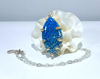 Blue Dragon's Vein Agate pendant Necklace, handcut stone, Silversmith,  Sterling silver frame, 19 in silver or leather chain, gift under 40