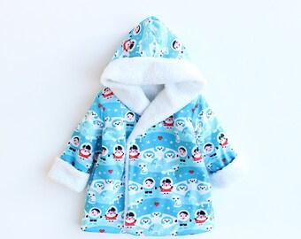 HEARTS HOODIE Children Baby Girl Boy Jacket pattern Pdf sewing, Reversible Hooded Coat, Toddler  newborn up to 10 years