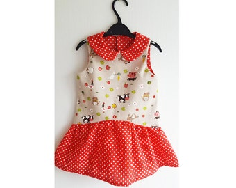 Girl Baby Girl Dress sewing pattern Pdf BFFs ,  Easy Sleeveless Collared Dress, newborn 3 6 9 12 18 m 1 2  3  4  5  6 yrs Puperita