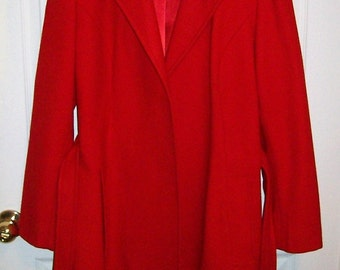 Vintage Ladies Red Wool Blazer Jacket by Pendleton Size 14 Only 12 USD