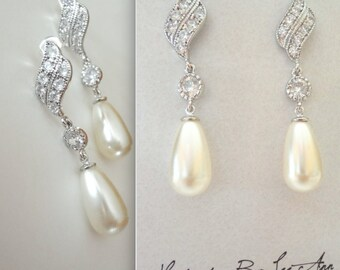 Pearl drop Earrings ~ Long ~ Brides pearl earrings ~ Sterling Silver posts ~ Formal ~ Elegant Bridal Jewelry ~ Bridesmaids ~ Gift