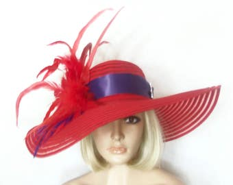Ladies Red Hat - Red Feathered Hat - Kentucky Derby Hat, Garden Party Hat or Tea Party