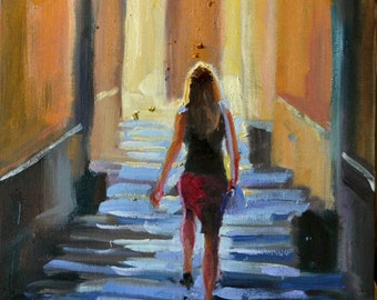 Original oil painting of TUSCAN STEPS, purple and ochre, sunlit courtyard, dappled light, italy