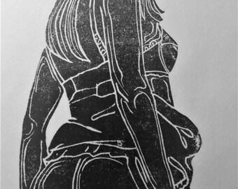 """inspiration erotique vintage linogravure imprimé à l'encre à l'huile  sur papier de riz  """" Thérèse"""""""