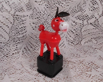 Vintage Red Donkey Push Up Toy Plastic Mint