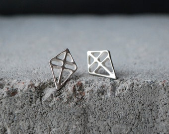 RUUTI Earrings Sterling silver, brushed silver or dark grey / black ox recycled silver hand formed studs