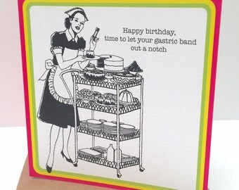 Humourous retro BIRTHDAY card for people who like CAKE :-)