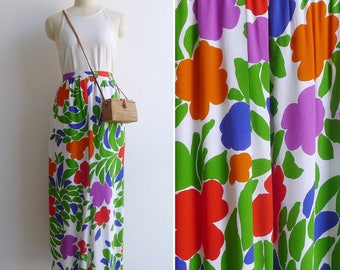 15% SALE (Code In Shop) - Vintage 70's Floral Explosion High Waisted Maxi Skirt L or XL
