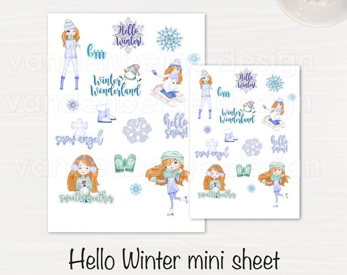 Hello Winter! Planner Sticker Sheet- 16 count -Perfect for all planners!