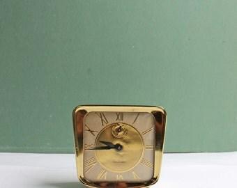 Lux Clock, Vintage Gold Clock, Wind Clock