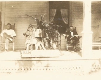 "Vintage Snapshot ""Elm St. Boarding House"" Front Porch Rocking Chairs Boston Fern Plant Stand Reading Newspaper Found Photo"