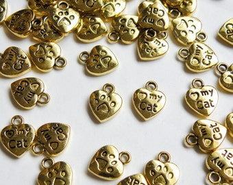 20 Love My Cat charms with heart antique gold 13x10mm PD082-AG