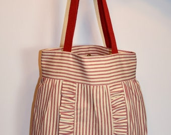 Ruffled Purse Red Pillow Ticking